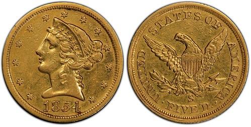 1854-S $5 PCGS XF45