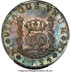 1754 Peru Ferdinand VI 8 Reales obverse