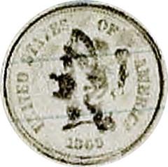 Pencil Rubbing of 1869 5c Judd-684 Obverse
