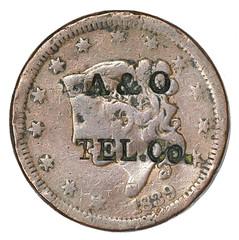 Atlantic & Ohio Telegraph Co. Counterstamp obverse