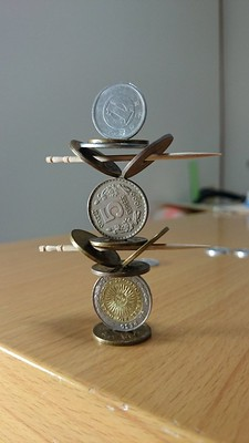 coin stack with toothpicks