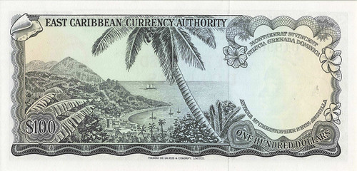 1965  East Caribbean Currency Authority $100 type C back