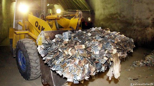 East German money in bulldozer