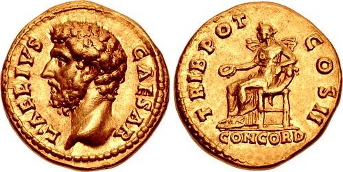 Lucius Aelius Caesar gold aureus