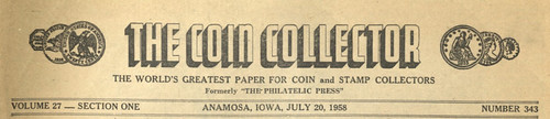 The Coin Collector July 20, 1958 Masthead