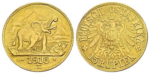 1916 German East Africa 15 Rupien Gold