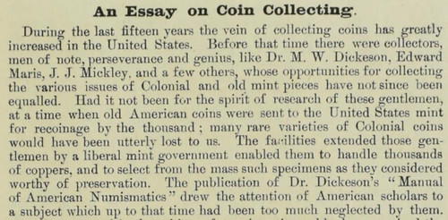 Frossard An Essay on Coin Colecting 1876
