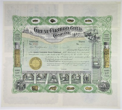 Archives sale 69 Lot 738 Great Cariboo Gold Co. Stock