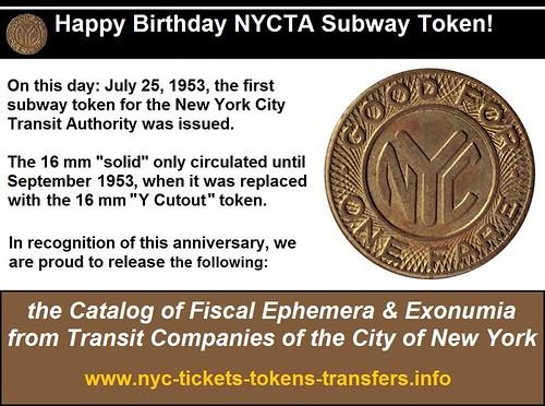 HAppy Birthday New York City Transit Token