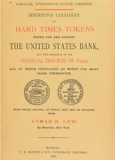 Lyman Low 1886 Hard Times Token Pamphlet