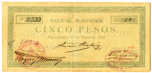 Archives sale 69 Lot 166 Honduras - Billette del Tesoro 1889 Rarity