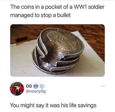 WWI soldier pocket coins stop bullet