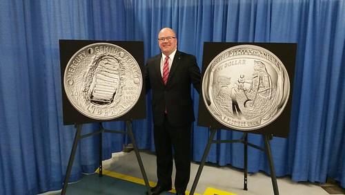 Mike Olson with Apollo 11 coin designs
