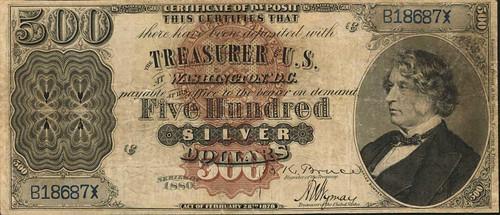 1880 $500 Silver Certificate face