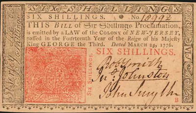 New Jersey. March 25, 1776. 6 Shillings face