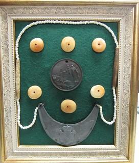 Framed 1870 medal and gorget