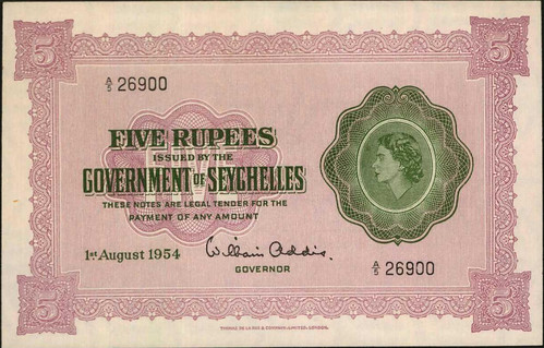 1954 Seychelles 5 Rupees