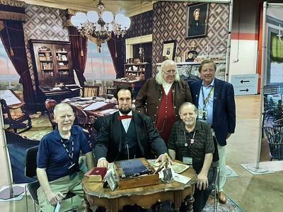 ANA 2021-08-13 Ken Bressett Philip Bressett Tom Uram with Abe Lincoln and Ben Franklin