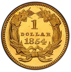 Proof 1854 Type Two gold dollar reverse