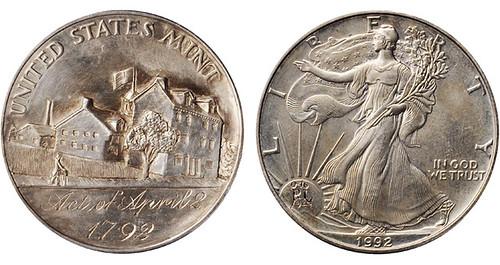 1992 LAndis Ye Olde Mint carving on 1992 American Eagle