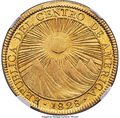 Central American Republic gold 8 Escudos 1828 CR-F AU58+ NGC_Heritage_Auctions_1