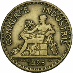 1925 French two Francs with caduceus