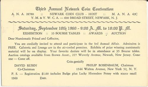Postcard Newark Coin Convention