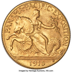 1915 Panama Pacific two and a half dollar gold coin obverse