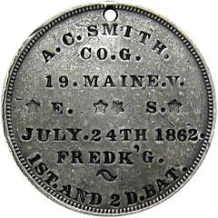 1862 Civil War Soldier Washington ID Dog Tag A. C. Smith reverse