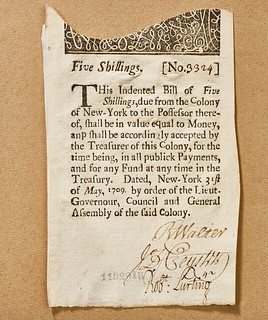 1709 New York Five Shillings indented bill