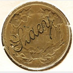 Lidey Flying Eagle Cent Counterstamp or Love Token reverse