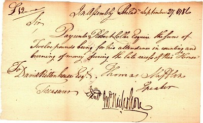 1786 Order To Burn Colonial Currency