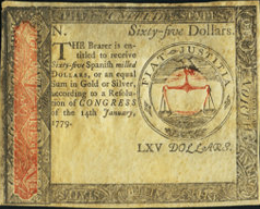 Continental Currency January 14, 1779 $65 Two-Color Face Proof