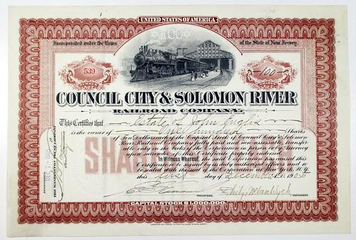 Archive Intl Auction 70 Lot 771 Solomon River Railroad stock