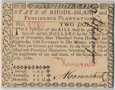 1780 Rhode Island $2 note