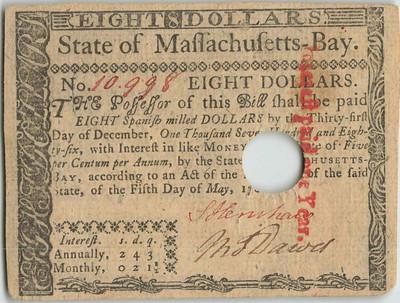 1780 Massachusetts 8 dollar note