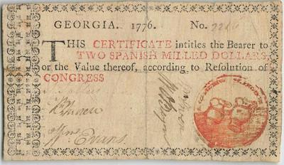 1776 Georgia $2 note