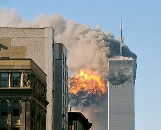 World trade Center towers on fire on 9-11