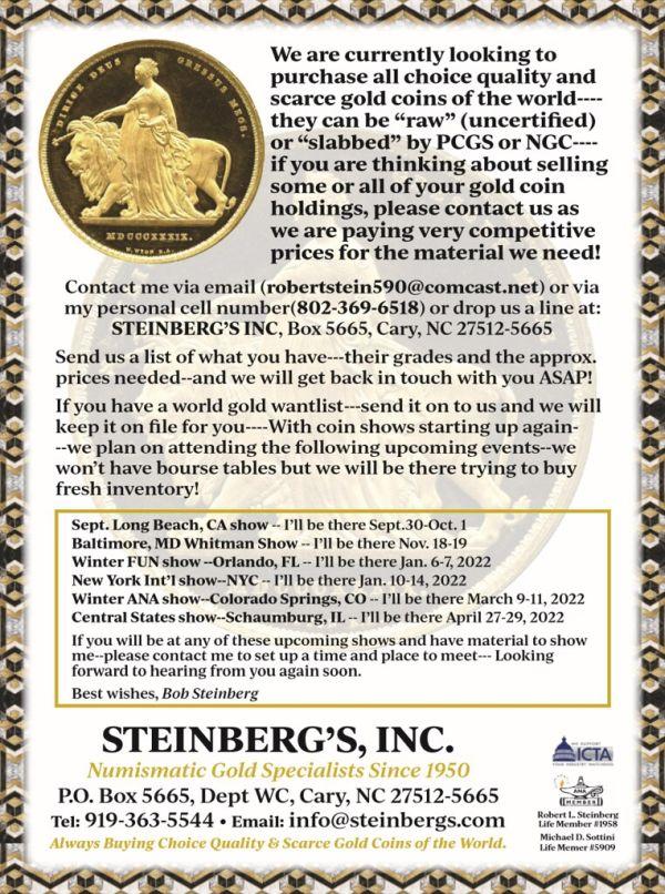 Steinbergs E-Sylum ad 2021-08-29 Post-ANA 600 wide