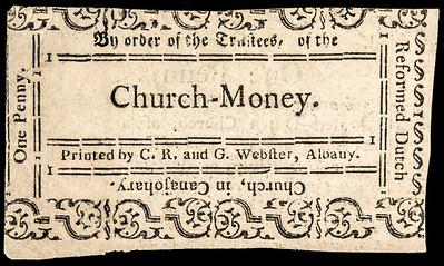 New York Reformed Dutch Church-Money One Penny Note back