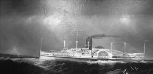 oil painting of the Steamship Elm City