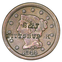 Pittsburgh Large Cent Counterstamp obverse