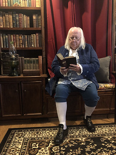Pat McBride as Ben Franklin in Library