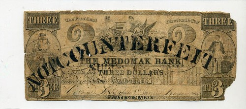Medomak Bank $3.00 stamped Not     Counterfeit