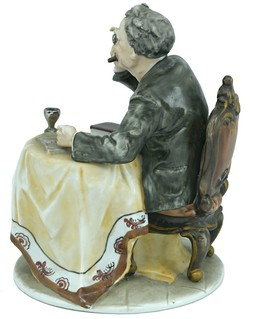 porcelain coin collector figure back