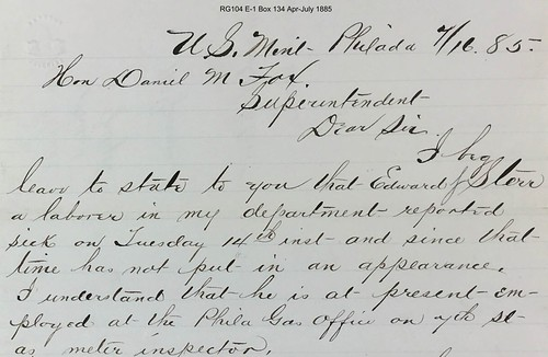 1885 Mint  correspondence from McGinnis to Fox