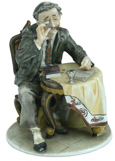 porcelain coin collector figure front