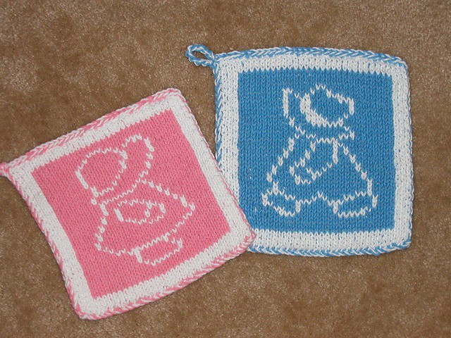 Knitted pot holders Flickr - Photo Sharing!
