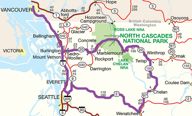 a long drive | North Cascades National Park Area Map - the ...