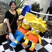 Yumi on set with the Simpsons!